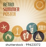 Vector summer poster with the sun and summer icons - stock vector