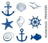 sea icon set  anchor  shell ... | Shutterstock .eps vector #99644285