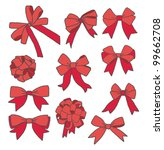 big set of red ribbon bows | Shutterstock .eps vector #99662708