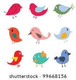 Set of different cute birds - Vector