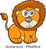 Cute Crazy Safari Lion Vector Illustration - stock vector