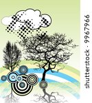 grunge background with tree | Shutterstock .eps vector #9967966