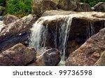 water fall over rocks background | Shutterstock . vector #99736598