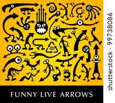 Vector set of funny live arrows. - stock vector
