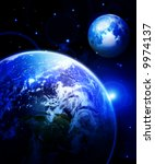 earth and moon in outer space | Shutterstock . vector #9974137