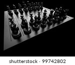 chess pieces on a board on a... | Shutterstock . vector #99742802