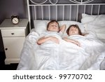 sister and brother sleeping in... | Shutterstock . vector #99770702