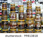 Glass Jars With Nuts And Honey...