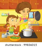 illustration of helping at home ... | Shutterstock .eps vector #99836015