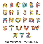 Set Of Kid Alphabet Characters