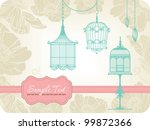Vintage Card With Birdcages In...