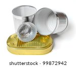 Empty tin cans on a white background. Environmental concept - waste recycling. - stock photo
