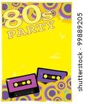 retro poster template   80s... | Shutterstock . vector #99889205