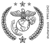 Doodle style military rank insignia for US Marine Corps, including globe and anchor and wreath