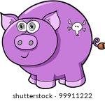 Cute Crazy Farm Pig Vector Illustration Art - stock vector