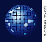 tiled blue sphere - stock vector