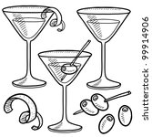 Doodle style martini drink set including olives, glass, lemon or orange peel, and stirrers - stock vector