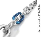 chrome chain with a blue link...   Shutterstock . vector #99945896