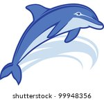 blue,dolphin,fish,icon,jump,leap,mascot,ocean,sea,swim,symbol,wave