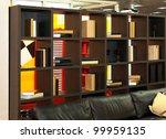 wooden shelf with books in... | Shutterstock . vector #99959135