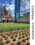 Copley Square is a public square in Back Bay Boston, Massachusetts. - stock photo
