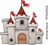 cute cartoon castle. vector... | Shutterstock .eps vector #99969026