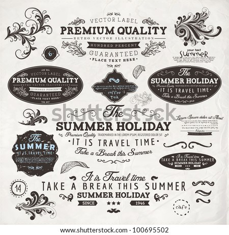 vector set  calligraphic design