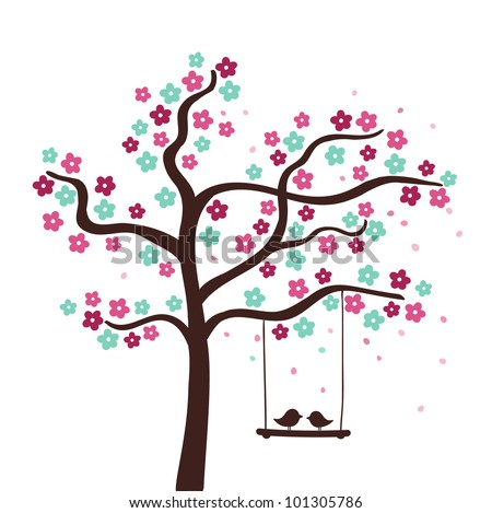 spring flower love tree vector
