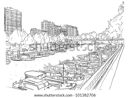 embankment of the river with
