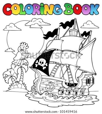 coloring book with pirate ship