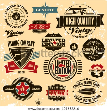 retro style labels and badges