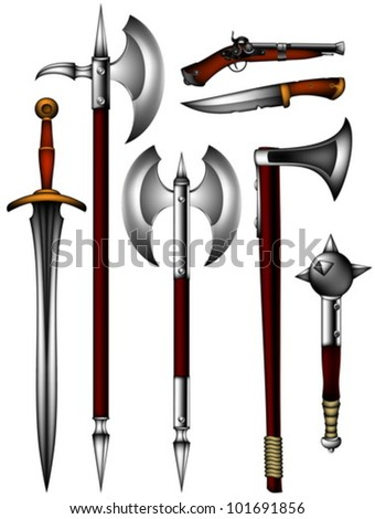 set of ancient weapon