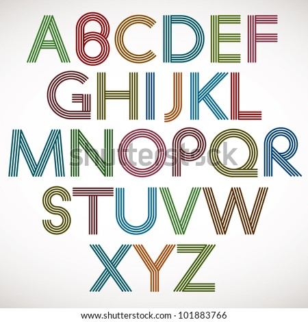 retro style alphabet  striped