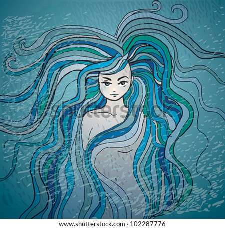 mermaid   sketch of woman with