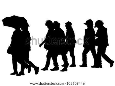 vector drawing groups of people