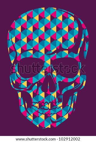conceptual human skull vector