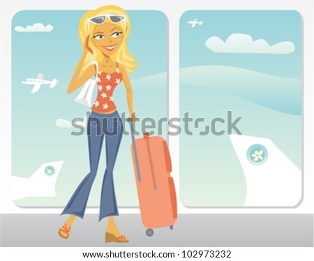 cartoon of woman in airport on