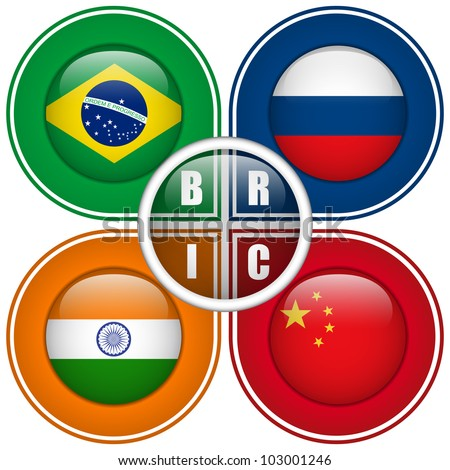 vector   bric countries buttons