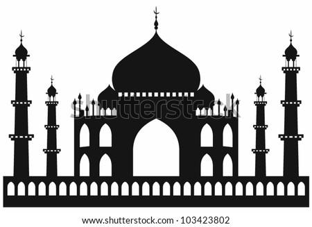 taj mahal temple silhouette
