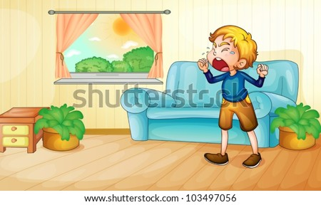 illustration of a boy crying in