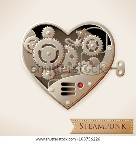 wind up metal steampunk heart