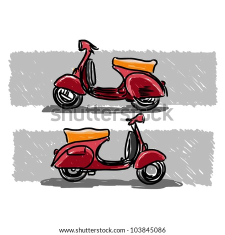 scooter classic style  vector