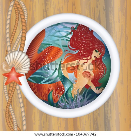beautiful mermaid in porthole