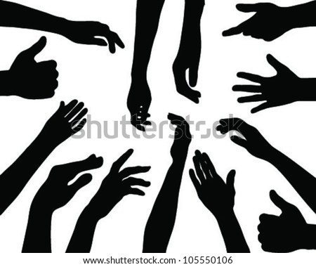 silhouettes of hands 2 vector