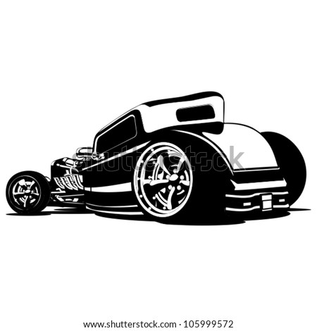 vector cartoon retro hot rod