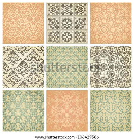 set of nine seamless pattern in