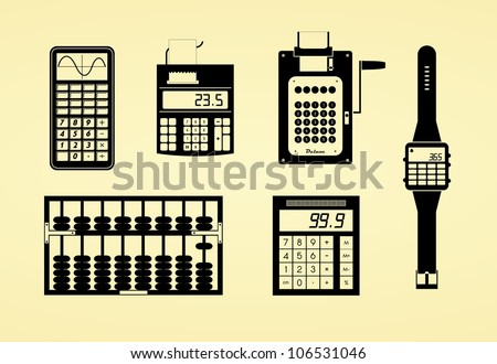 silhouettes of calculators
