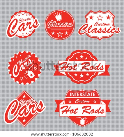 classic car label vector set