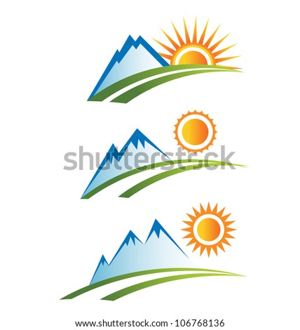 set of mountain with sun