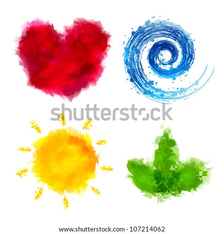 4 watercolor elements  isolated